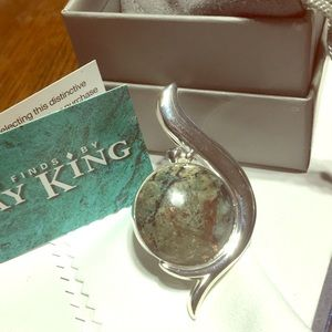 Jay King speckled copper agate 925 Silver pendant